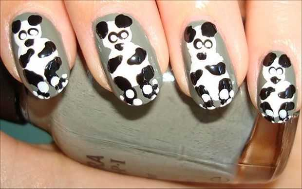 Panda Nail Art Design Video Tutorial - Stylish Panda Nails - Animal Nail Art Designs - Featured, Nail Art