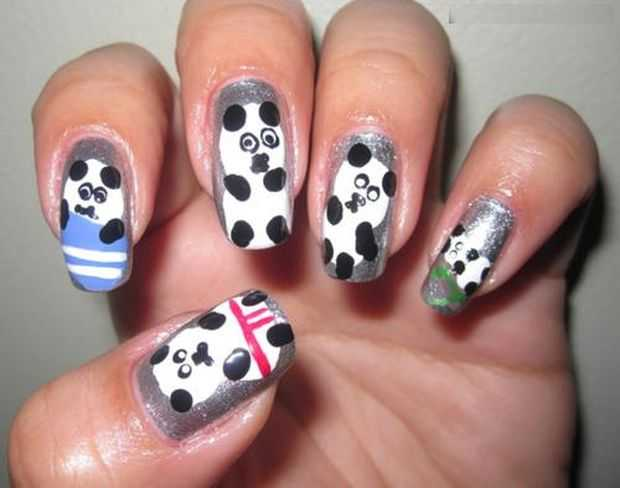 Stylish Panda Nails Animal Nail Art Designs Featured Nail Art