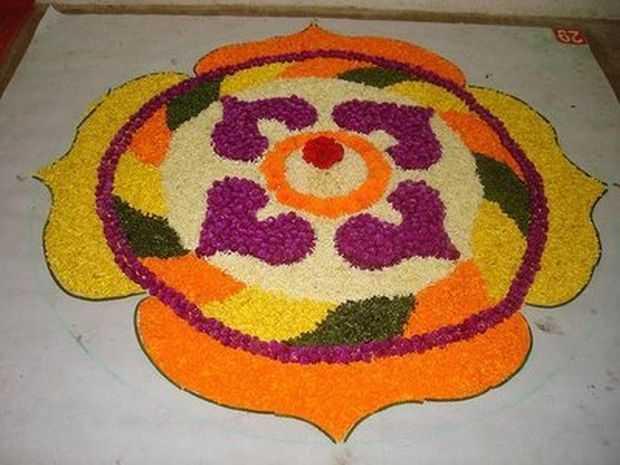 Innovative floral rangoli designs rangoli patterns home for Home rangoli designs