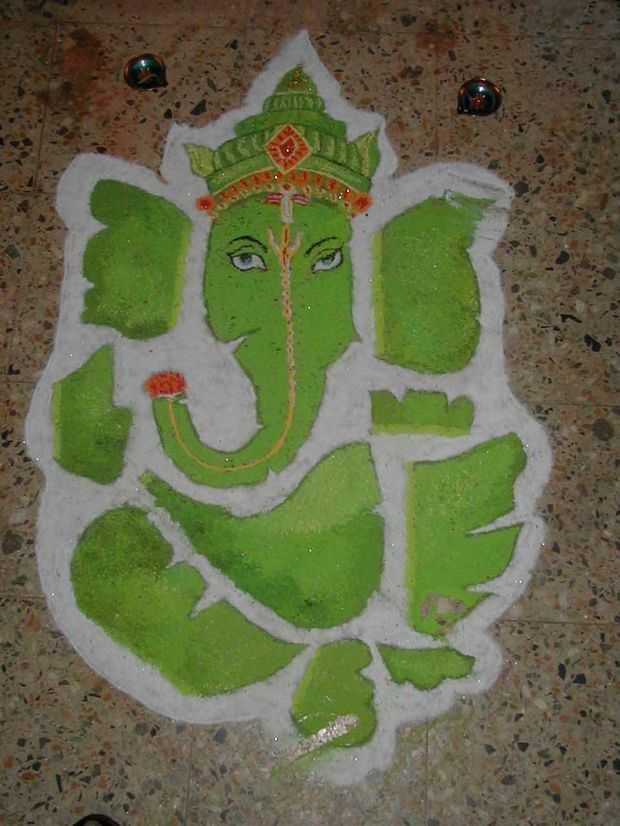 Ganapati rangoli designs for diwali ganesha rangoli for Home rangoli designs