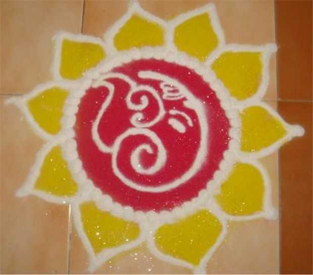 Laxmi Ganesh Rangoli Designs Easy