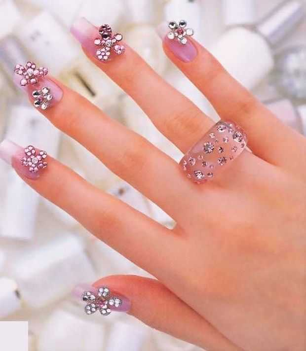 Nail Art Designs With Trendy Rhinestones Nail Art Nail Art