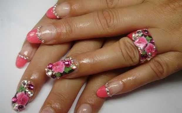 Nail-Art designs with -Rhinestones-15
