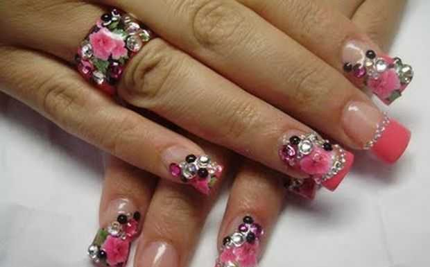 Nail-Art designs with -Rhinestones-9