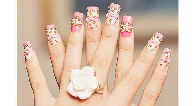 Sweet Pink And Leopard nail Art 2