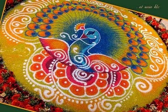 Peacock Rangoli Design Ideas For Diwali
