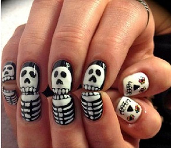 Halloween Skeleton Nail Art Designs