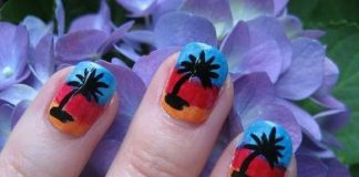 Palm tree nail art designs