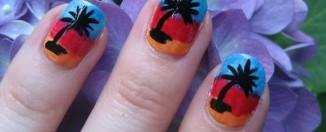 Palm tree nail art designs