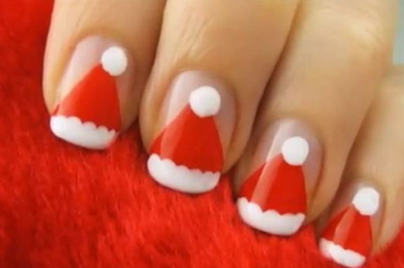santa-hat-chriatmass-nail-art-1