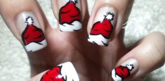 Santa Hats Christmas Nail Art