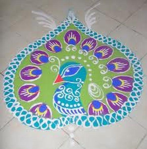 peacock rangoli designs � 10 peacock rangoli designs
