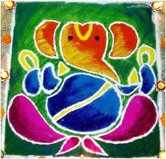 Ganpati Rangoli Designs For Diwali 2013 2014