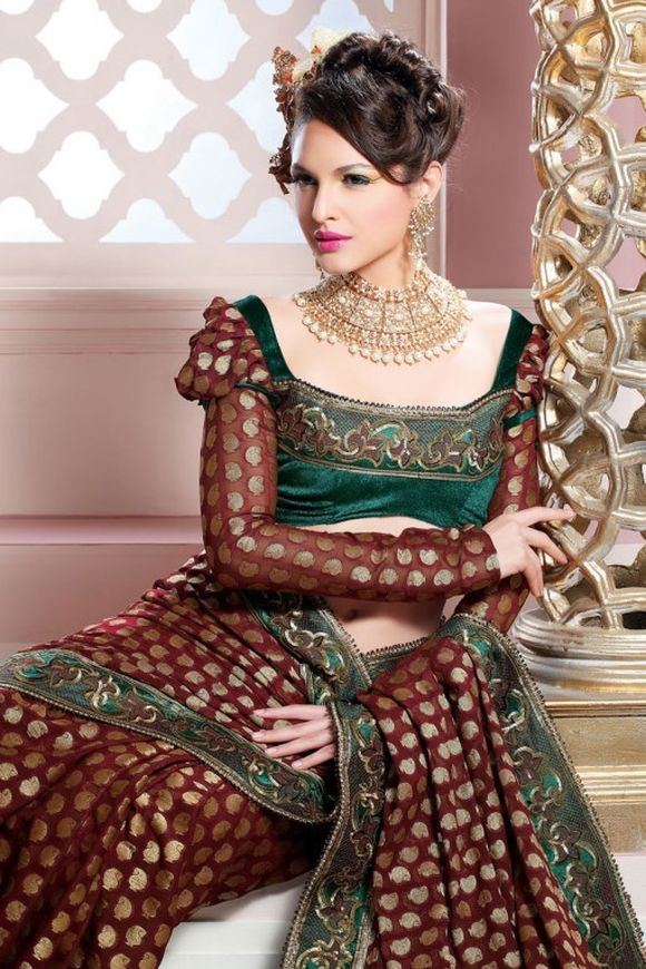 saree blouse designs, patterns with full sleeves