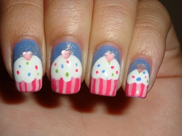 Birthday Themed Nail Art Image Inspiration of Cake and Birthday