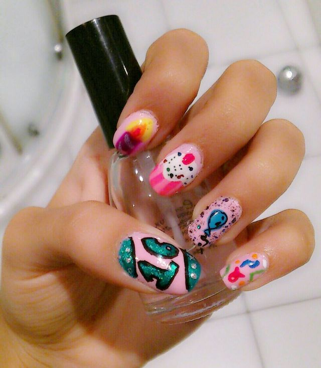 Happy Birthday Themed Nail Art Designs & Ideas