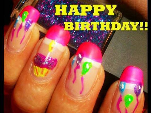 Birthday Themed Nail Art Designs