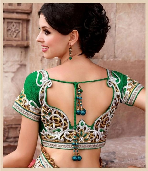 Stand Neck Blouse Designs : Back neck blouse designs latest patterns